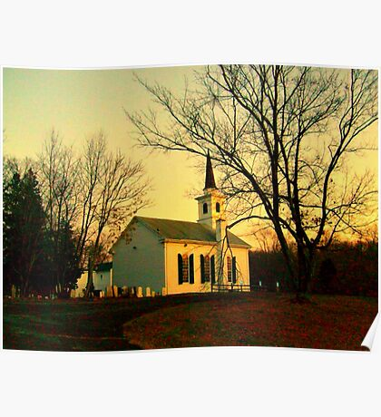 Small Waterloo Church at sunset, Waterloo Village, Stanhope NJ; Wooden Slat built 1859 Poster