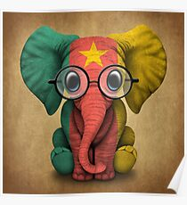 Baby Elephant with Glasses and Cameroon Flag Poster