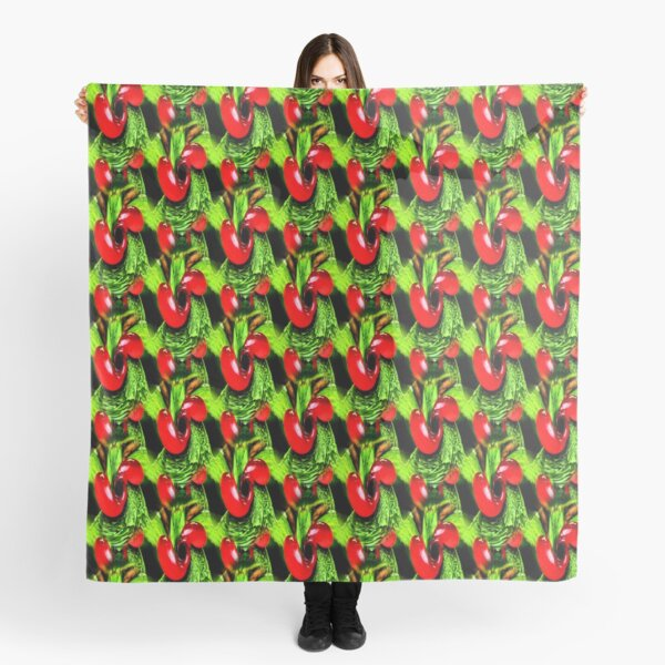 Red Berries Green Leaves Abstract Nature Art Scarf
