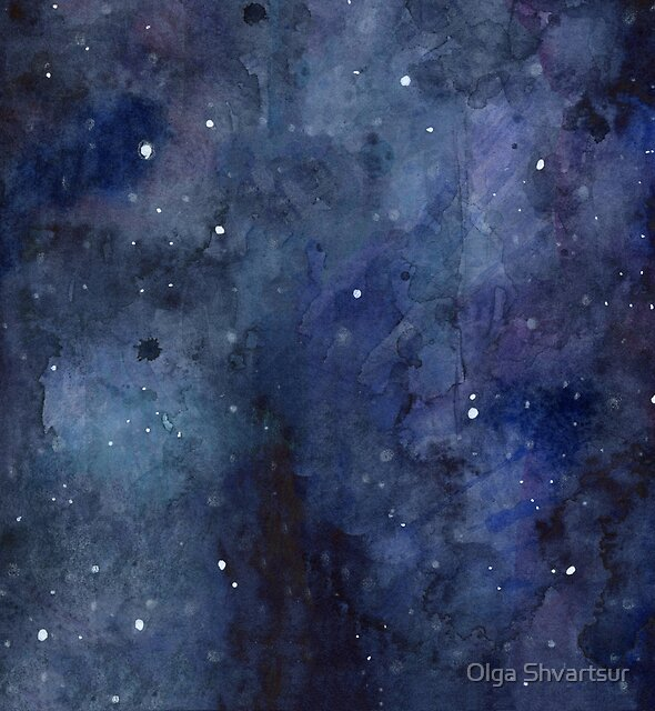 Galaxy Watercolor by Olga Shvartsur