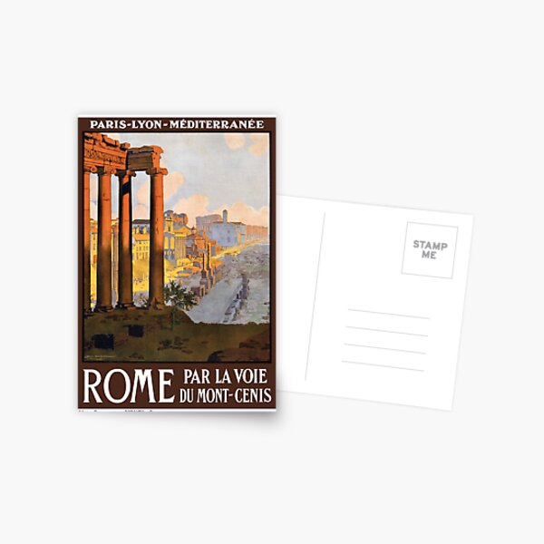 Rome Par La Voie du Mont Cenis Vintage Travel Poster Restored Postcard