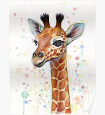 Baby Giraffe Watercolor Painting, Nursery Art Poster