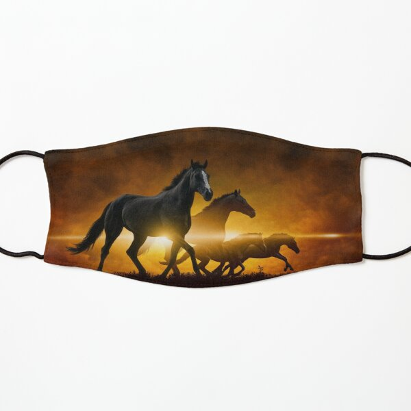 Wild Black Horses Kids Mask