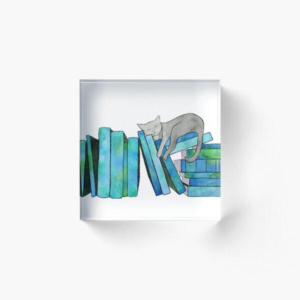 Literary Naps Blue Acrylic Block