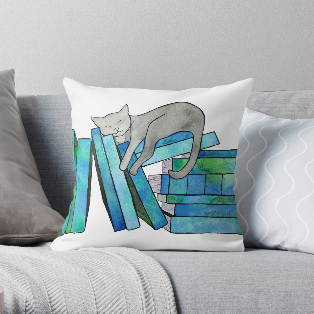 Literary Naps Blue Throw Pillow