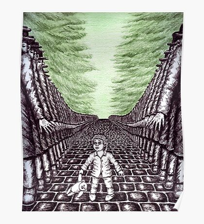 Nightmare surreal pen ink and pencil drawing Poster