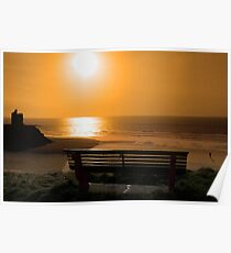bench with golden sunset view Poster