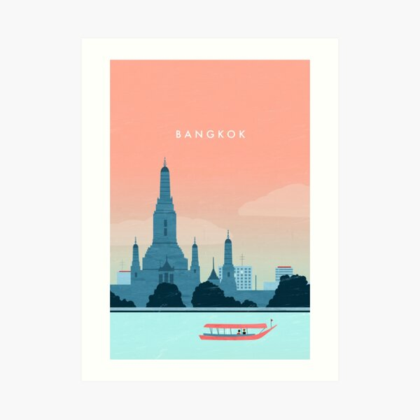 Bangkok Travel Poster Kunstdruck