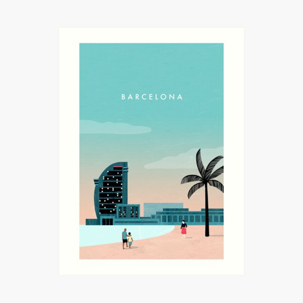 Barcelona Travel Poster Kunstdruck