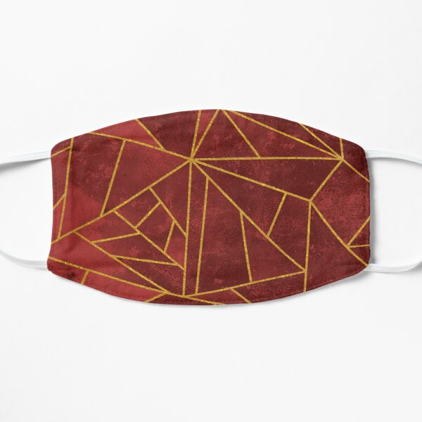 Red and Gold Modern Abstract Geometric Lines Pattern Mask