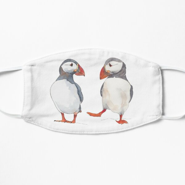 Puffin friends dancing - illustration Flat Mask