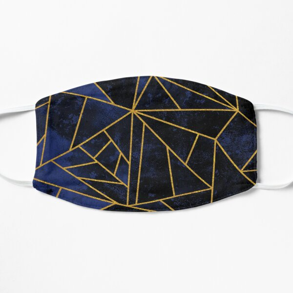 Blue and Gold Modern Abstract Geometric Mask