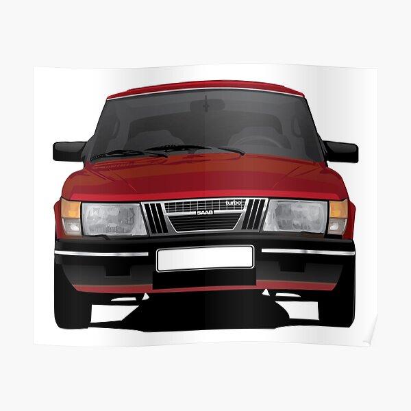 SAAB 900 Turbo illustration red Poster