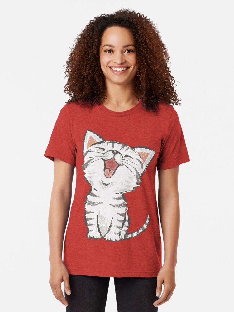 Alternate view of American Shorthair happy Tri-blend T-Shirt