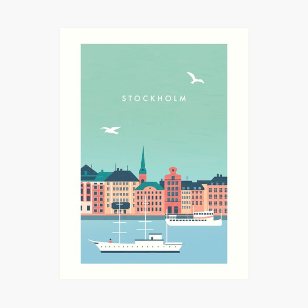 Stockholm Travel Poster Kunstdruck