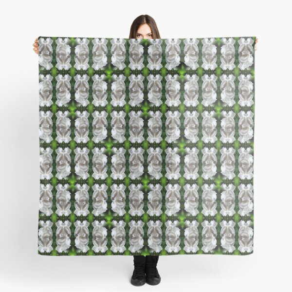 White Rose Abstract Nature Art Scarf