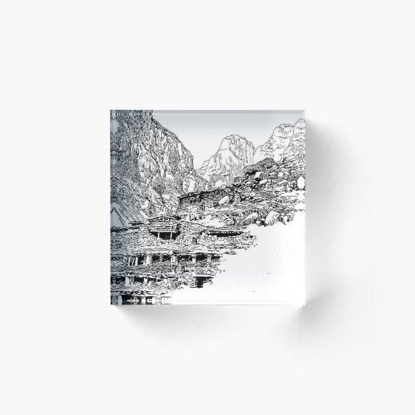Mountain Landform Acrylic Block