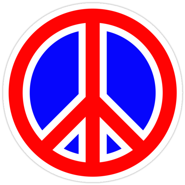 Quot Red White And Blue Peace Sign Quot Stickers By
