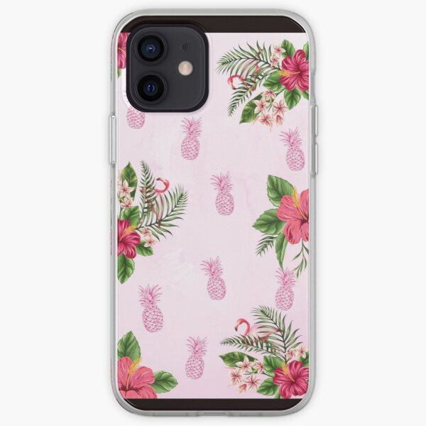 Tropical Pink Floral Print iPhone Soft Case