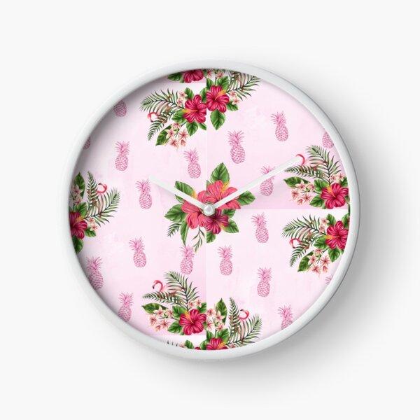 Tropical Pink Floral Print Clock