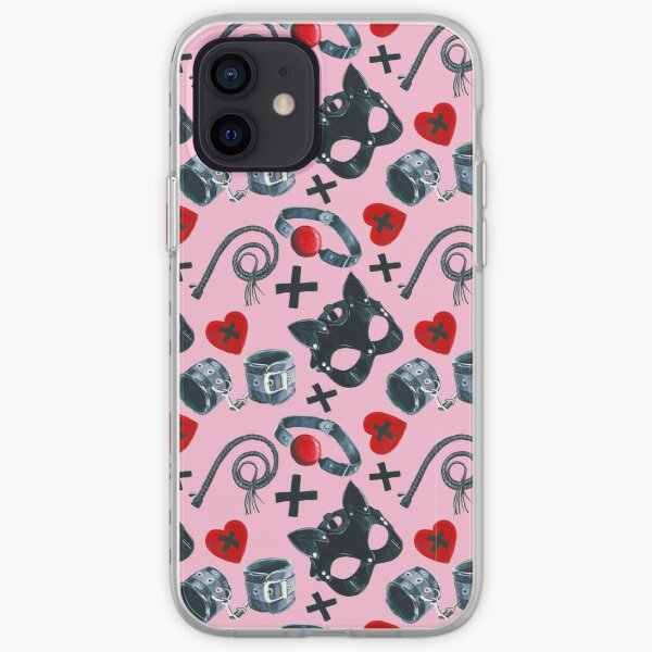 Watercolor pattern with  depiction of subjects for sexual games, leather mask, handcuffs, whip iPhone Soft Case