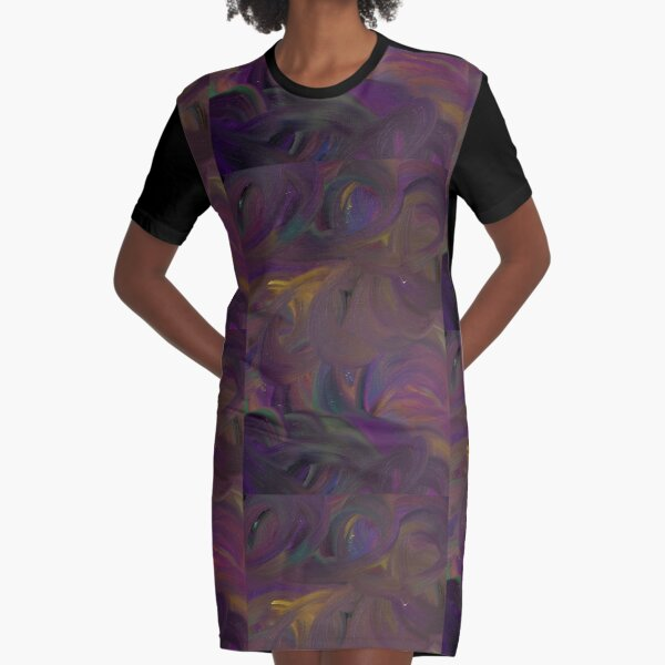 Shimmery Graphic T-Shirt Dress
