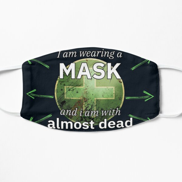 Mit Maske und von Infizierten umgeben. Flache Maske