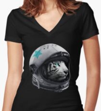 Astro Tiger Women's Fitted V-Neck T-Shirt