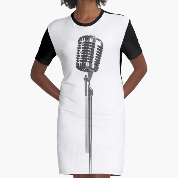 Square Microphone Stand Singing Stand Up Comedy Graphic T-Shirt Dress