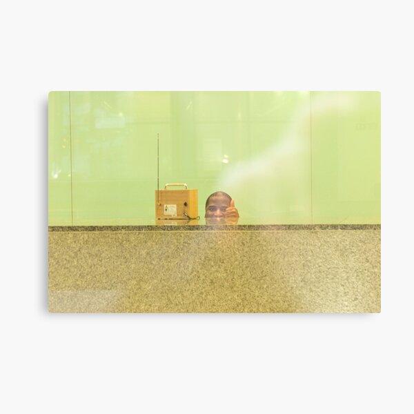 Through the window: The man behind his desk  Metal Print