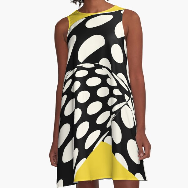 Wavy Dots on Yellow A-Line Dress