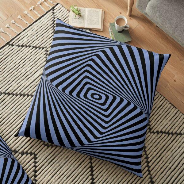 Op-Art Rad Rectangles in Blue Floor Pillow