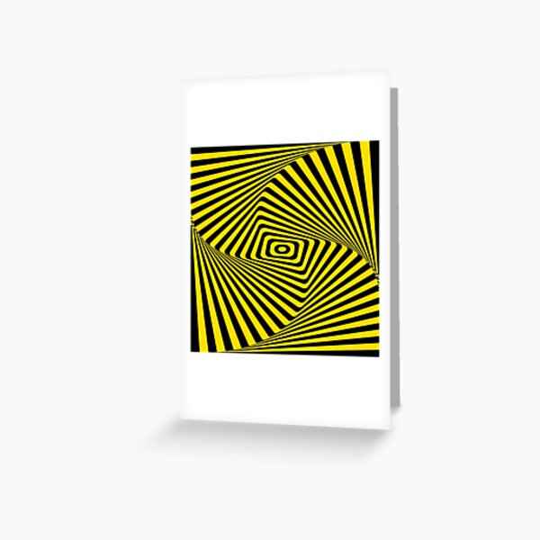 Op-Art Rad Rectangles in Gold Greeting Card