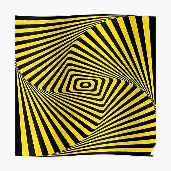 Op-Art Rad Rectangles en or Poster