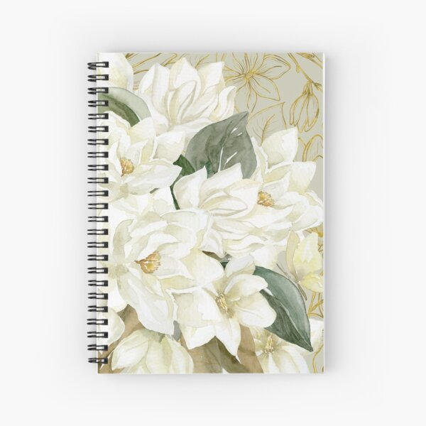 Elegant Magnolias – with a Touch of Gold Spiral Notebook