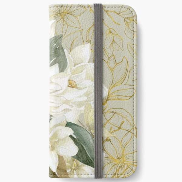 Elegant Magnolias – with a Touch of Gold iPhone Wallet