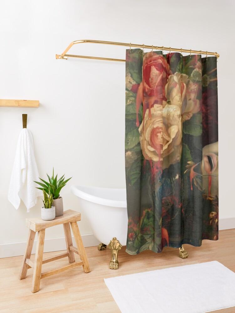 Alternate view of DARK SPRING Shower Curtain
