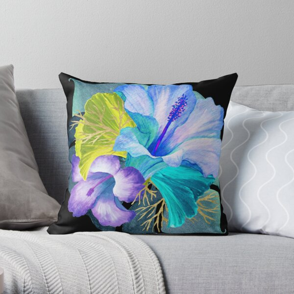 Flower Power – Blue Tropical Throw Pillow