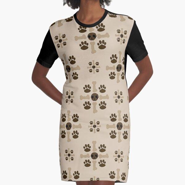 Snouts, Paws, and Bones Graphic T-Shirt Dress