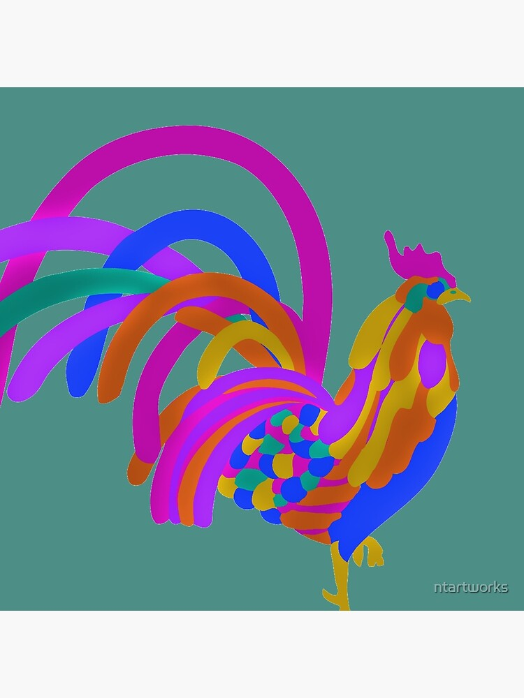 Colorful Abstract Rooster by ntartworks