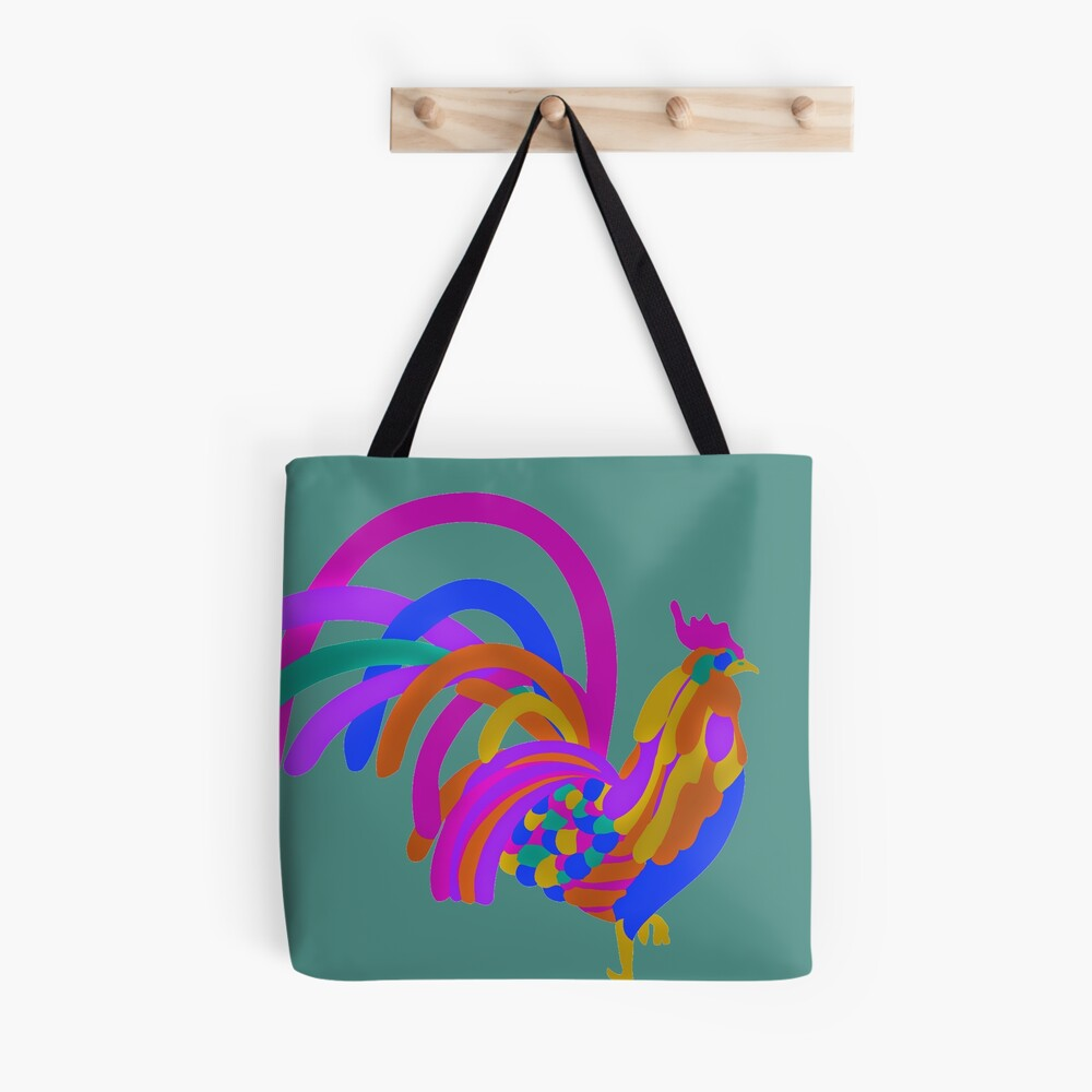 Colorful Abstract Rooster Tote Bag
