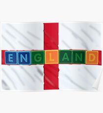 england and flag in toy block letters Poster