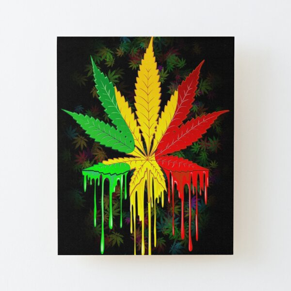 Marijuana Leaf Rasta Colors Dripping Paint Wood Mounted Print