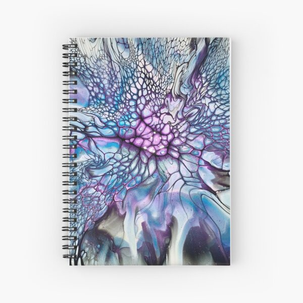 Original Sparkly Blue, Purple, and Black Abstract Fluid Art Painting  Spiral Notebook