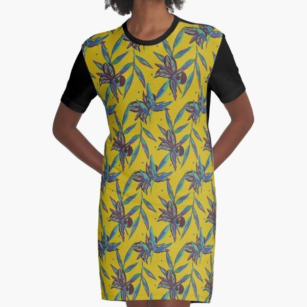 Motif Tahiti exotique jaune moutarde décoration Graphic T-Shirt Dress