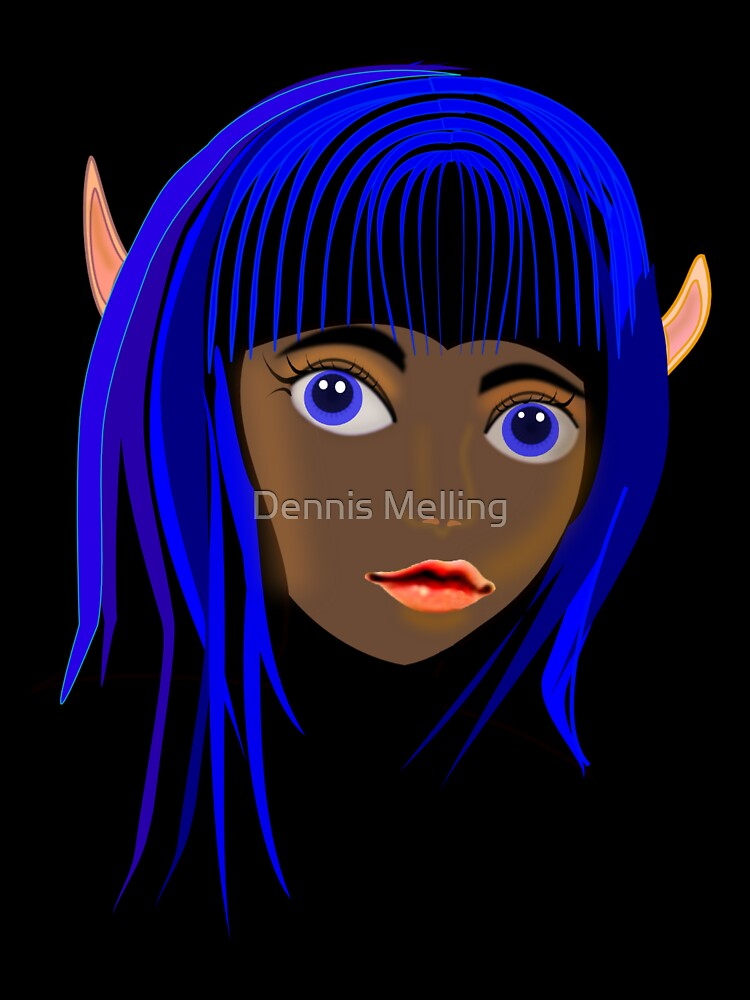 Fairy Bluehair on Black by Dennis Melling