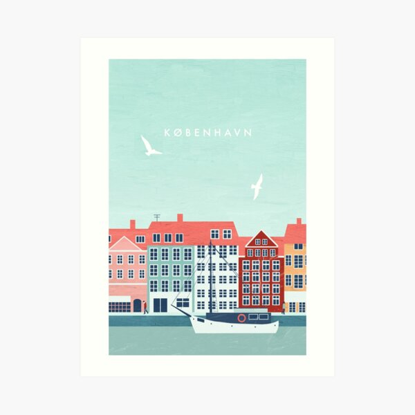 Kopenhagen Travel Poster Kunstdruck