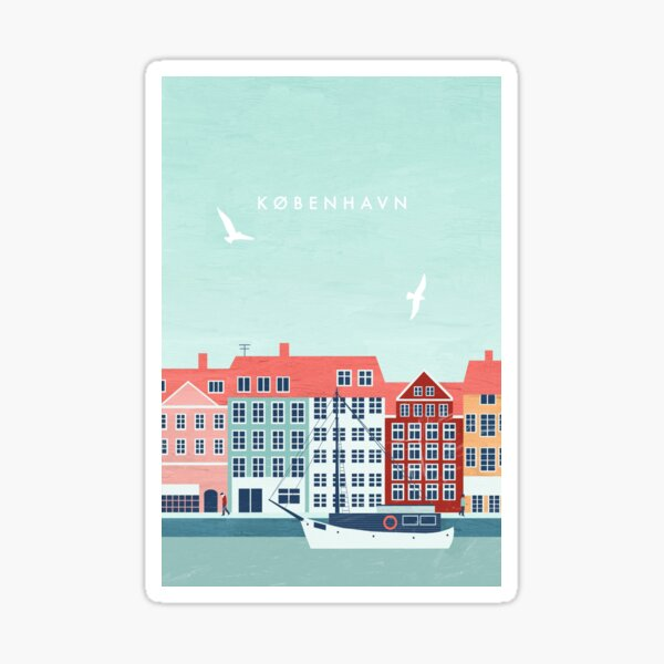 Cartel de viaje de Copenhague Pegatina