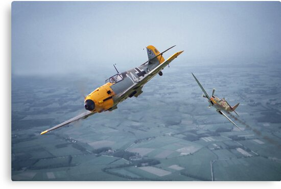 Spitfire - Bf109 - 'Some you win....' by Pat Speirs