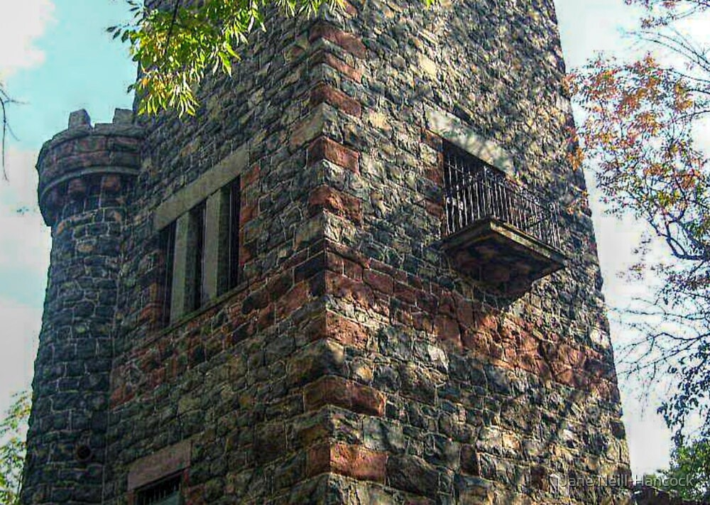 Small Balcony On the Side of the Garrett Mountain LookOut Tower, Lambert Castle Property, Woodland Park, NJ by Jane Neill-Hancock